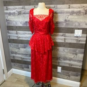 Vintage Homemade Red Lace Midi Dress